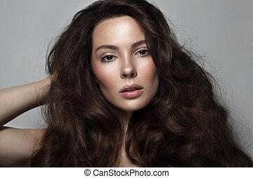美しい女性, 巻き毛, 若い, 長い髪, きれいにしなさい, メーキャップ