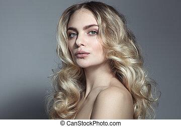 美しい女性, 巻き毛, 若い, 長い髪, ブロンド