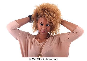 美しい女性, 巻き毛, 長い髪, アフリカ, 微笑, アフリカ