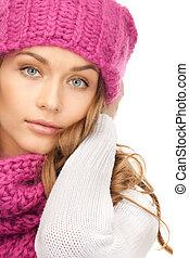 美しい女性, 帽子, 冬
