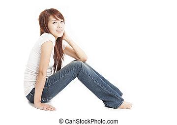 美しい女性, 床, モデル, 若い, アジア人, 微笑
