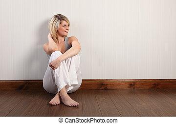 美しい女性, 床, モデル, 若い, ブロンド