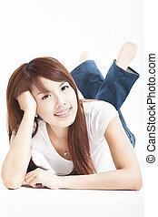 美しい女性, 床, 若い, アジア人, あること