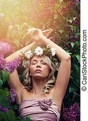 美しい女性, 弛緩, 花, 春, 肖像画, outdoors., 花