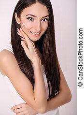 美しい女性, 彼女, 美しさ, きれいにしなさい, 美容術, 若い, 顔, 新たに, 待遇, 美顔術, 皮膚, 感触, エステ