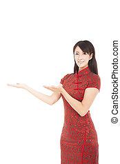 美しい女性, 提示, 若い, アジア人, 何か