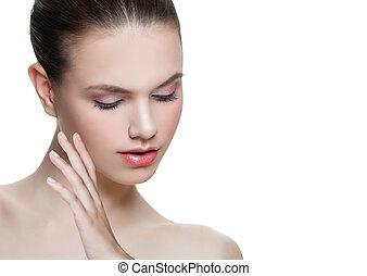 美しい女性, 新たに, 彼女, 手。, 美しさ, 若い, 隔離された, treatment., バックグラウンド。, 感動的である, 美容術, 美顔術, 皮膚, エステ, 白い額面, ゆとり, 心配