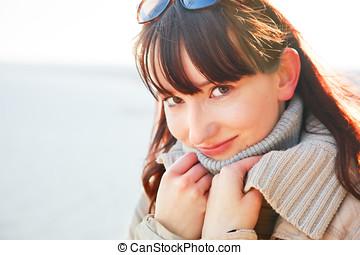 美しい女性, 日当たりが良い, 若い, day., 肖像画