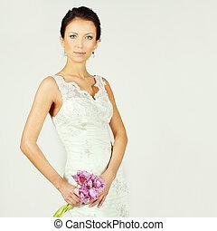 美しい女性, 春, ファッションモデル, 花
