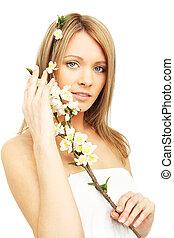 美しい女性, 春, 隔離された, 白い花