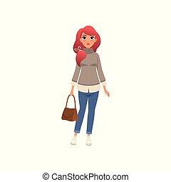 美しい女性, 服を着せられる, 若い, イラスト, ベクトル, 背景, 流行, 女の子, fashionably, 白い袋