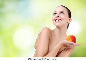 美しい女性, 桃, 美しさ, 若い 女の子, きれいにしなさい, 皮膚, 新たに