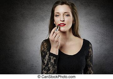 美しい女性, 構成, 彼女, 唇
