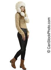 美しい女性, 毛皮, 冬, hat., 肖像画, 女の子