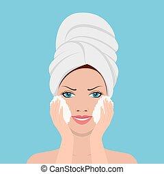 美しい女性, 洗浄, プロセス, バスローブ, 顔, タオル