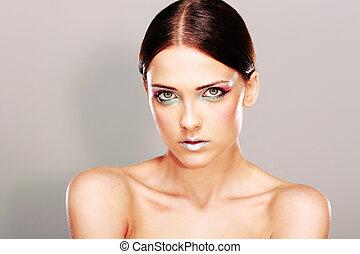 美しい女性, 皮膚, 若い, 肖像画, 新たに, 美しい