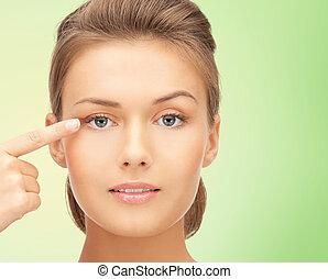 美しい女性, 目, 彼女, 指すこと, 若い, 指