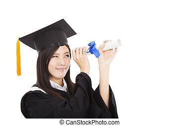 美しい女性, 程度, 卒業生, 見る, 微笑