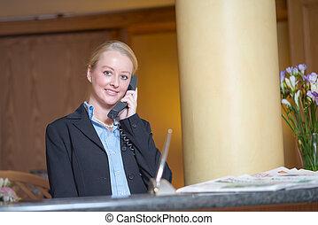 美しい女性, 答える, ブロンド, 電話