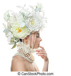 美しい女性, 美しさ, 彼女, face., 若い, 手, 感動的である, 花, 皮膚, 新たに
