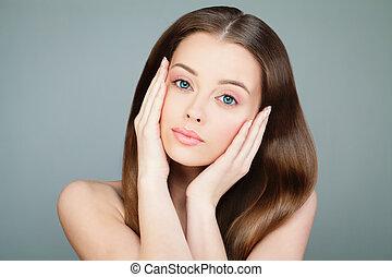 美しい女性, 美しさ, 彼女, face., 若い, treatment., 感動的である, 新たに, 美容術, 美顔術, 皮膚, エステ