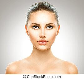 美しい女性, 美しさ, 若い, girl., きれいにしなさい, 皮膚, 新たに