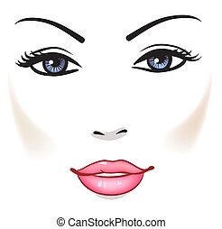 美しい女性, 美しさ, 顔, ベクトル, 肖像画, 女の子
