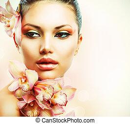 美しい女性, 美しさ, 顔, flowers., 女の子, 蘭