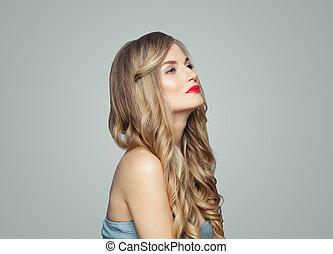 美しい女性, 美容術, 唇, 長い髪, 待遇, makeup., 美顔術, 光沢がある, 赤, haircare