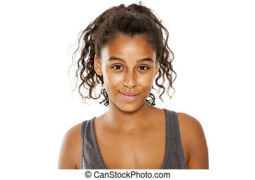 美しい女性, 肌が黒, 若い