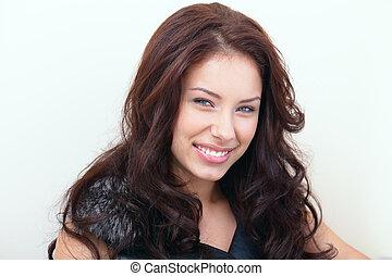 美しい女性, 肖像画, 微笑