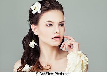 美しい女性, 自然の美しさ, 健康, 若い, portrait., 皮膚, モデル