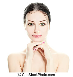 美しい女性, 自然, 健康, face., 構造, isolated., skin., エステ