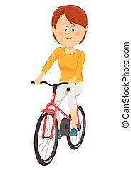 美しい女性, 自転車, 若い, 背景, 乗馬, 白
