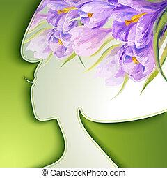 美しい女性, 花, 若い
