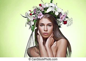美しい女性, 花, wreath.