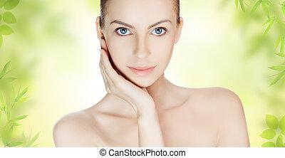 美しい女性, 若い, きれいにしなさい, 皮膚