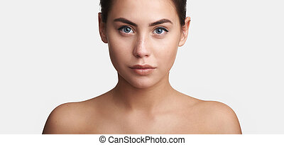美しい女性, 若い, きれいにしなさい, 皮膚, 新たに