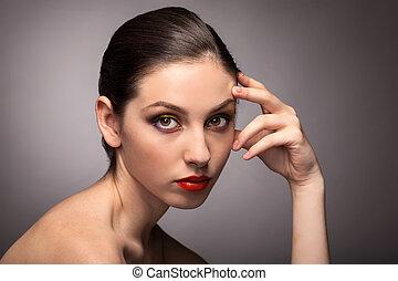 美しい女性, 若い, きれいにしなさい, 皮膚, 肖像画, 新たに