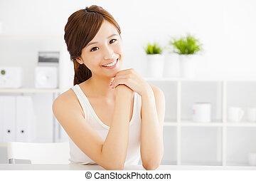 美しい女性, 若い, アジア人, きれいにしなさい, 皮膚
