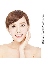 美しい女性, 若い, アジア人, スキンケア