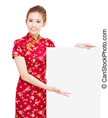 美しい女性, 若い, アジア人, 広告板, 空