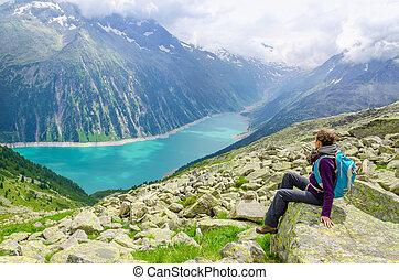美しい女性, 若い, オーストリア, 風景, 高山