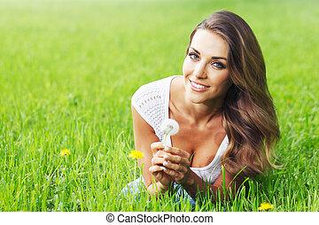 美しい女性, 若い, タンポポ