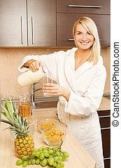 美しい女性, 若い, ドレス, 作成, 白, 朝食