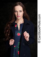 美しい女性, 若い, バックグラウンド。, dress., 黒, スタジオ