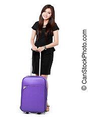 美しい女性, 若い, ビジネス, スーツケース