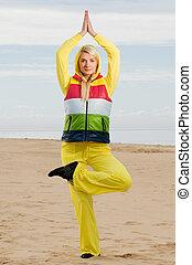 美しい女性, 若い, フィットネス, 浜, 練習