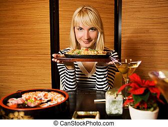 美しい女性, 若い, レストラン