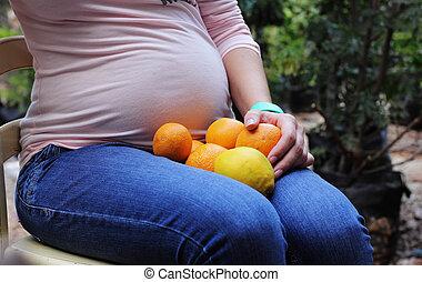 美しい女性, 若い, 妊娠した